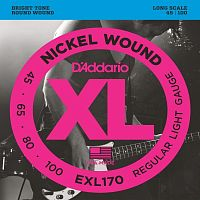 D`Addario EXL-170  Струны для бас-гитары nickel, soft 45-100, long