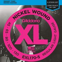 D`Addario EXL-170-5  Струны для пятиструнной бас-гитары , Nickel, Soft 45-130, long
